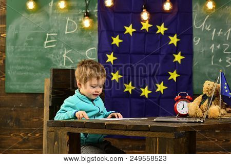 Education Concept. Little Boy Learn In Classroom, School Education. Elementary Education And Early D