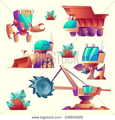 Vector Cartoon Set Of Mining Machinery For Planets, Futuristic Devices. Space Exploration With Multi