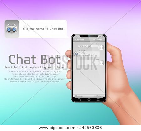 Artificial Intelligence, Online Chatbot Vector Concept Background. Human Hand Holding Smartphone, Us