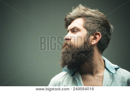 Man Brutal Bearded Hipster Side View, Copy Space. How Grow Great Beard. Ways Optimize Facial Hair. B