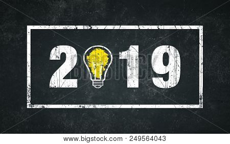 Year 2019 With Border On A Dark Background