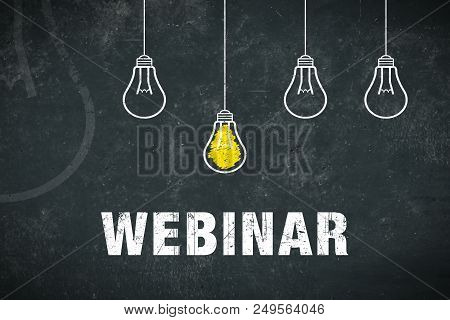 Graphic: Webinar. Light Bulbs On A Chalkboard.