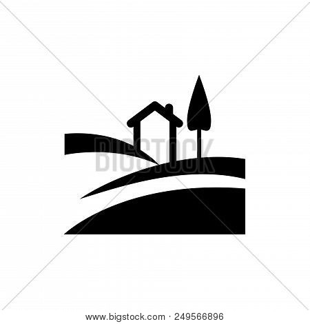 Rural House Vector Icon Flat Style Illustration For Web, Mobile, Logo, Application And Graphic Desig