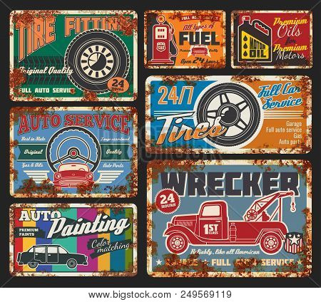 Car Service And Tire Fitting Retro Cards. Automobile Painting, Tires And Wheels Repair, All Types Of
