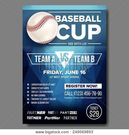 Baseball Poster Vector. Design For Sport Bar Promotion. Base. Baseball Ball. Modern Tournament. Spor
