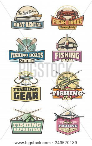 Fishing Club Retro Icons With Fish And Fishery Gear. Boats Rental And Fishing Tournament, Expedition
