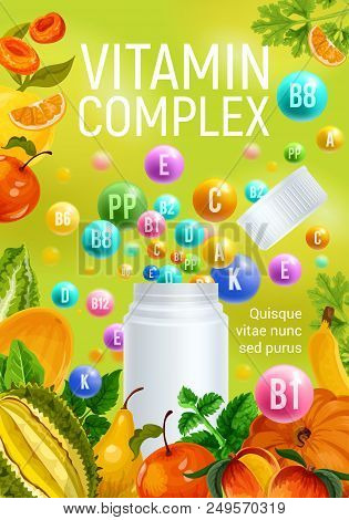 Complex Of Vitamins A And C With D And Minerals B, P Poster With Fresh Fruits And Vegetables. Pharma