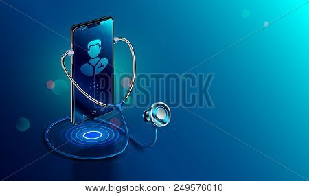 Doctor Online Concept. Icon Doctor Through The Phone Screen Using Stethoscope Checks Health. Online