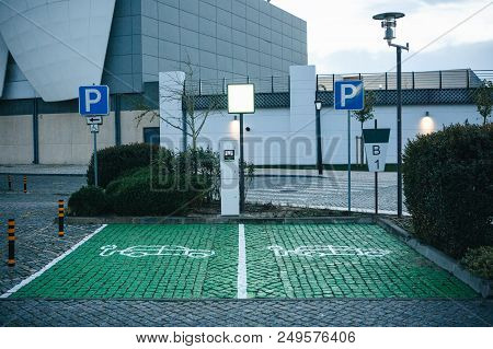 A Special Place For Charging Electric Cars Or Vehicles In Lisbon In Portugal. A Modern And Eco-frien