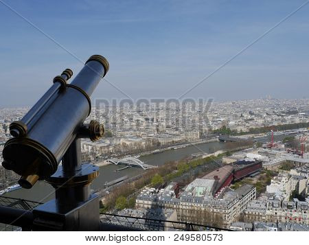 Aerial Panoramic Cityscape View Of Paris, France With The Eiffel Tower On A Spring