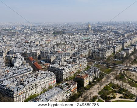 Aerial Panoramic Cityscape View Of Paris, France From The Eiffel Tower On A Spring