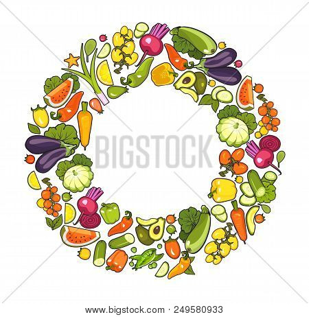 Vector Set Of Fresh Fruit Vegetables Laid Out In A Circle In A Frame With An Empty Space For Notes O