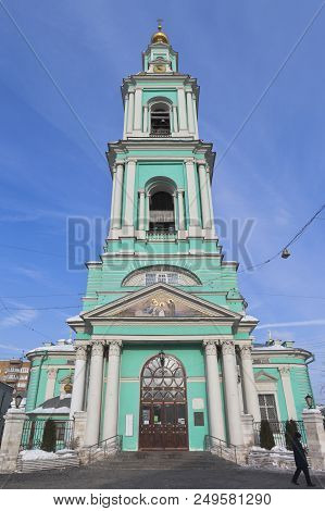 Moscow, Russia - March 3, 2018: The Epiphany Cathedral In Elokhov, Moscow