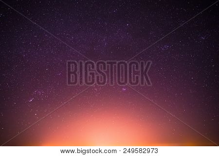 Real Night Sky Stars Background With Natural Colourful Gradient. Sunset, Sunrise Light And Starry Sk