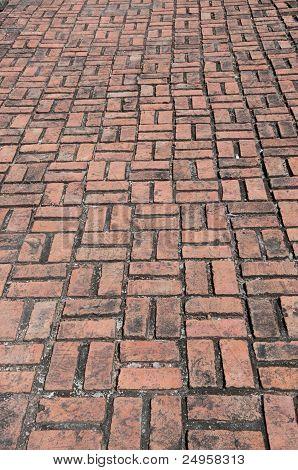 Line Of Clay Brick Floor.