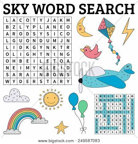 Learn English With A Sky Word Search Game For Kids. Vector Illustration.