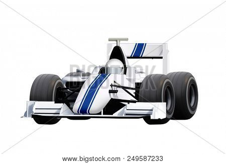 formula one race car isolated on white background with path
