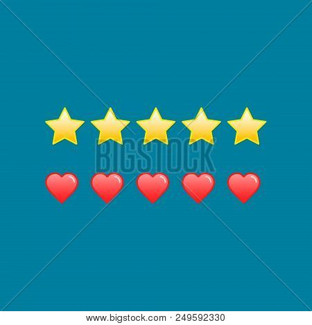 Heart And Star Rating Icons, Vector Isolated Rating Illustration.