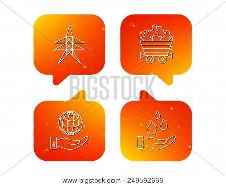 Save Water, Planet And Electricity Station Icons. Minerals Linear Sign. Orange Speech Bubbles With I