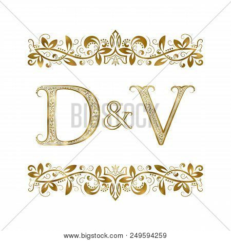 D And V Vintage Initials Logo Symbol. The Letters Are Surrounded By Ornamental Elements. Wedding Or