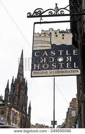 Edinburgh, Scotland - April 2018: Name Sign In Front Of Castle Rock Hostel On Royal Mile In Scotland