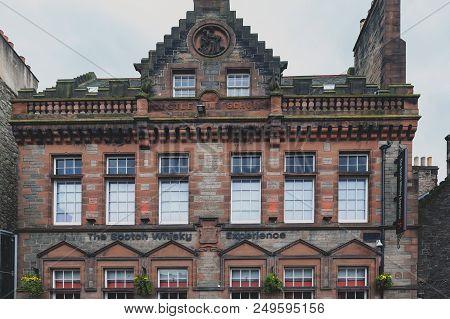 Edinburgh, Scotland - April 2018: Front Facade Of The Scotch Whiskey Experience On Royal Mile, Touri