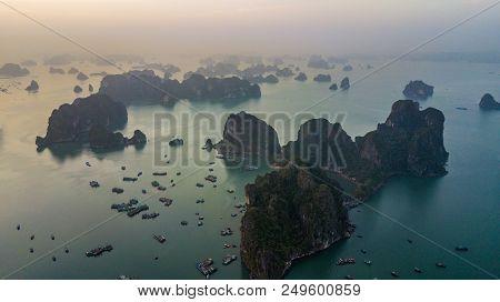 Aerial View Rock Island In Halong Bay City, Vietnam, Southeast Asia, Unesco World Heritage Site, Jun