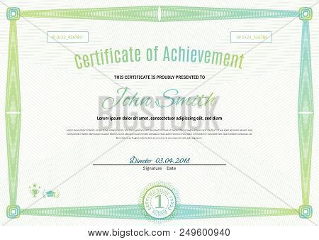 Official Light Green Certificate Of A4 Format With Green Guilloche Border. Official Simple Blank.