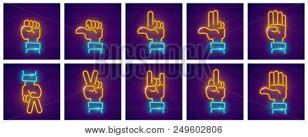 Set Of Hand Gestures. Neon Icons With Fingers For Gesticulation, Isolated White Background. Eps10 Ve