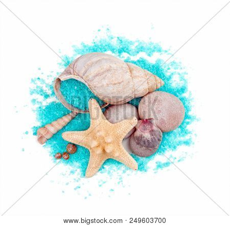 Sea Shells And Sea Stars With Sea-green Sea Salt Isolated On White Background
