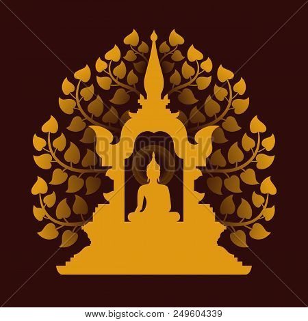Yellow Gold Buddha Meditate In The Dome And Bodhi Tree Background Vector Design