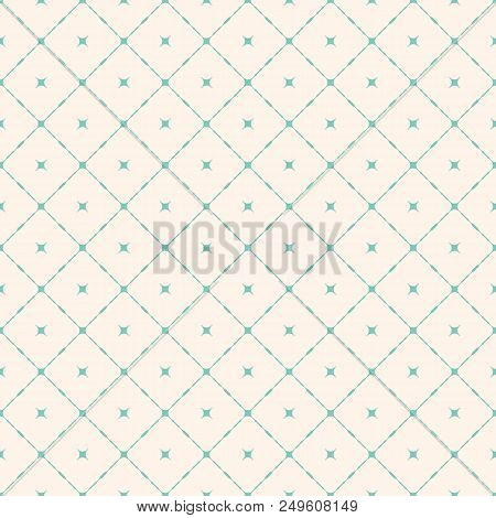 Geometric Seamless Pattern With Diagonal Square Grid, Rounded Shapes, Stars. Simple Minimalist Repea