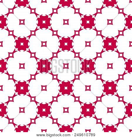 Red And White Seamless Pattern With Floral Shapes, Mosaic Tiles. Elegant Geometric Ornament, Abstrac