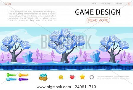 Cartoon Game Design Web Page Template With Fantasy Magic Forest Landscape Crystals Minerals Circle H
