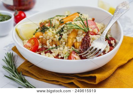Savory Autumn Or Winter Bulgur Salad With Vegetables And Pesto Sauce