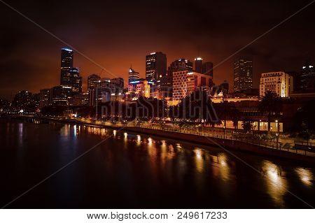 Melbourne, Australia - December 11, 2014: Melbourne Skyline Along The Yarra River At Dusk. Melbourne