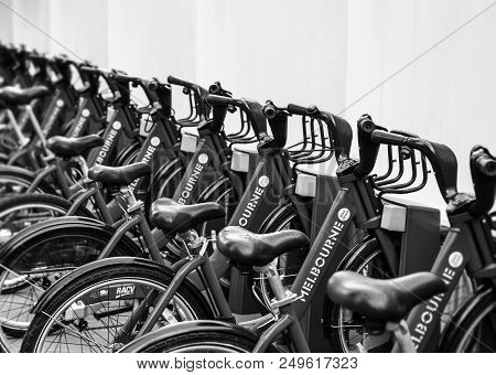 Melbourne, Australia - December 10, 2014: Melbourne Bike Share Is A Bicycle Sharing System That Serv