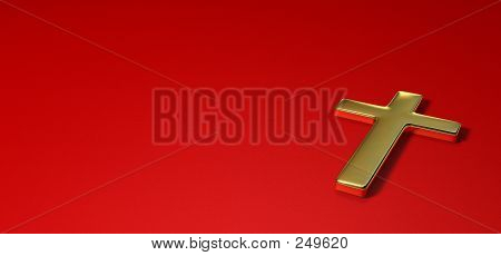 Gold Cross On Red Background