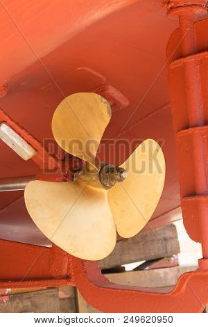 Brass Ship Proppeler In The Dry Dock