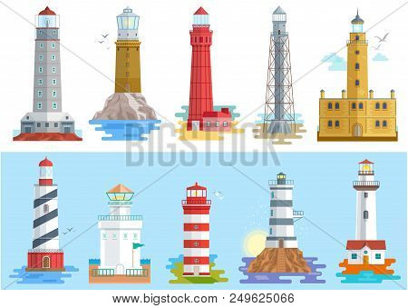 Lighthouse Vector Beacon Lighter Beaming Path Of Lighting To Ses From Seaside Coast Illustration Set