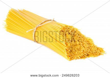 Stack Of Raw Spaghetti Isolated On White Background