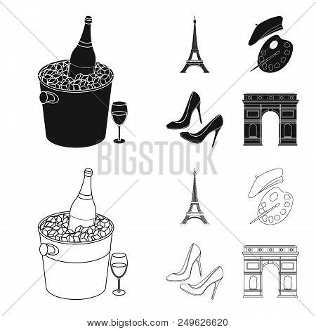 Eiffel Tower, Brush, Hat .france Country Set Collection Icons In Black, Outline Style Vector Symbol