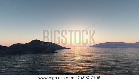 Sunset over the mountains by the sea.3D render