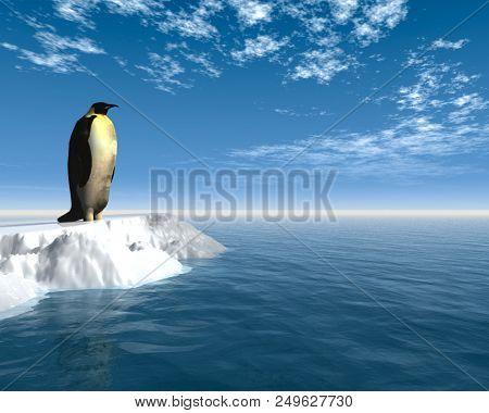 Antarctic penguin on ice - 3D render.