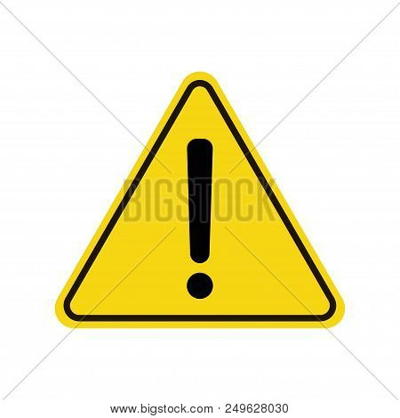 Triangle Warning Sign. Exclamation Sign. Warning Roadsign Icon. Yellow Background