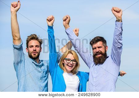 Company Reached Top. Men With Beard In Formal Shirts And Blonde In Eyeglasses As Successful Team. Co