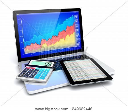 Business Improvement And Finance Success Analyzing Concept. Laptop With Growth Diagram Calculator An