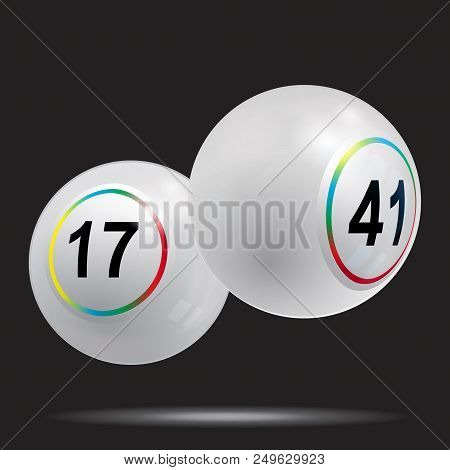 3d Illustration Of Two White Bingo Lottery Balls With Rainbow Rings Over Black Background