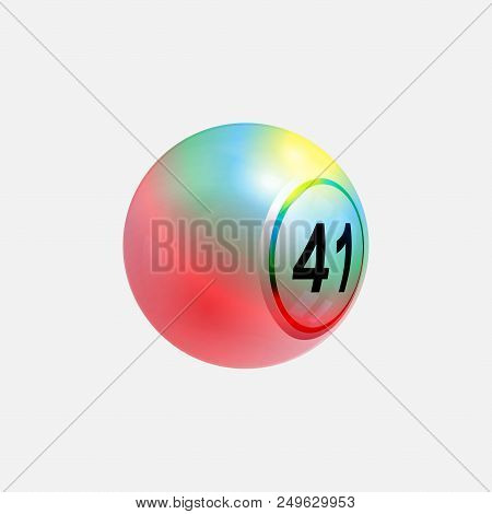 3d Illustration Of Rainbow Bingo Lottery Ball Multicoloured Over White Background