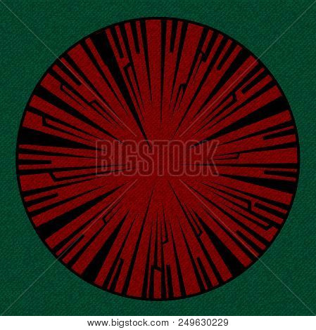 Vintage Textured Material Circular Border With Tribal Frame Over Green Background